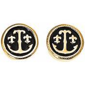 Boucles d'oreilles Ted Lapidus Bijoux Ronde Noir Or Email D36158DN