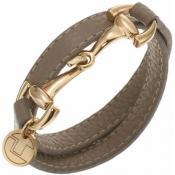 Bracelet Ted Lapidus Bijoux Cuir Gris Marron D51134DG