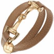 Bracelet Ted Lapidus Bijoux Cuir Camel Doré D51134DM