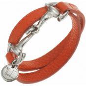 Bracelet Ted Lapidus Bijoux Acier Cuir Orange D51134O