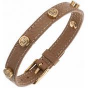 Bracelet Ted Lapidus Bijoux Acier Cuir Camel D51135DM