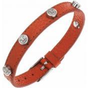 Bracelet Ted Lapidus Bijoux Cuir Orange Clouté D51135O