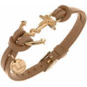 Bracelet Ted Lapidus Bijoux Ancre Cuir Beige D51136DM
