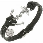 Bracelet Ted Lapidus Bijoux Ancre Cuir Noir D51136N