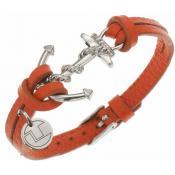Bracelet Ted Lapidus Bijoux Ancre Marin Cuir Orange D51136O