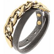 Bracelet Ted Lapidus Bijoux Métal Doré Cuir Gris D56138DG