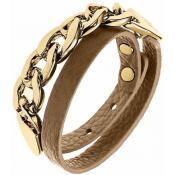 Bracelet Ted Lapidus Bijoux Métal Doré Cuir Camel D56138DM