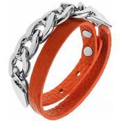 Bracelet Ted Lapidus Bijoux Métal Cuir Orange D56138O