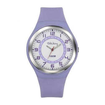 Montre Tekday 654651 - Bracelet Silicone Violet Boitier Silicone Violet Femme