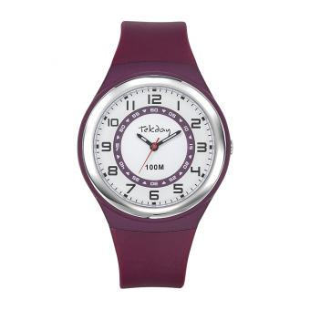 Montre Tekday 654652 - Bracelet Silicone Violet Boitier Silicone Violet Femme