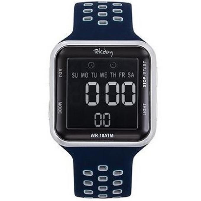 Boîtier Bracelet Homme D'infos Plus Montre Tekday 655955 Marine Digitale Silicone Bleu 7v6gYfby