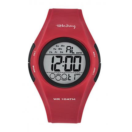 Montre Tekday 655976 - Digitale Multifonction Silicone Rouge Homme