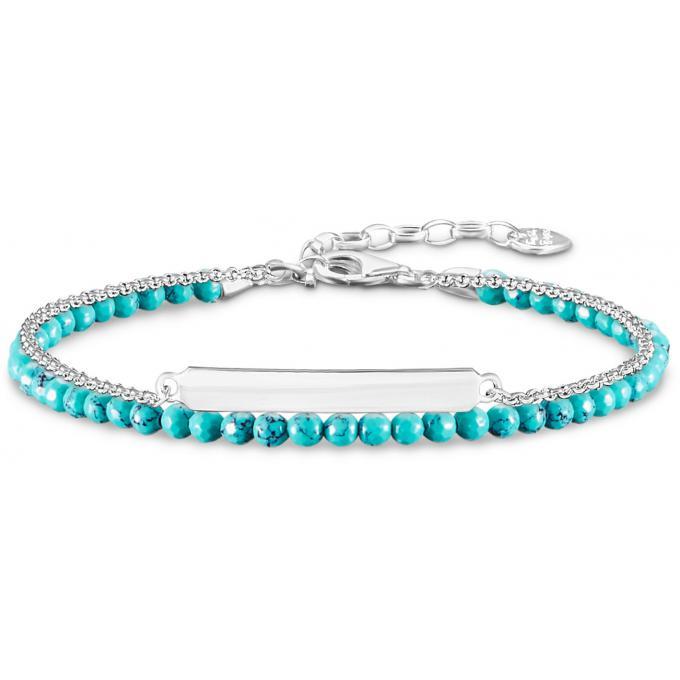 Bracelet Thomas Sabo Glam \u0026 Soul LBA0118,404,17 , Bracelet Argent Turquoise  Facettée