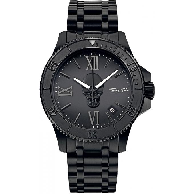 montre thomas sabo rebel at heart wa0197 202 203 montre dateur acier noire homme sur bijourama. Black Bedroom Furniture Sets. Home Design Ideas