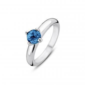 bague argent pierre bleu clair