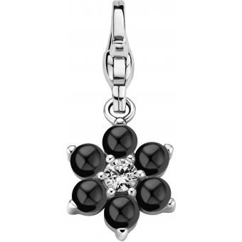 Charm Ti Sento 8550ZB - Charm Fleur oxyde de zirconium et perles noires
