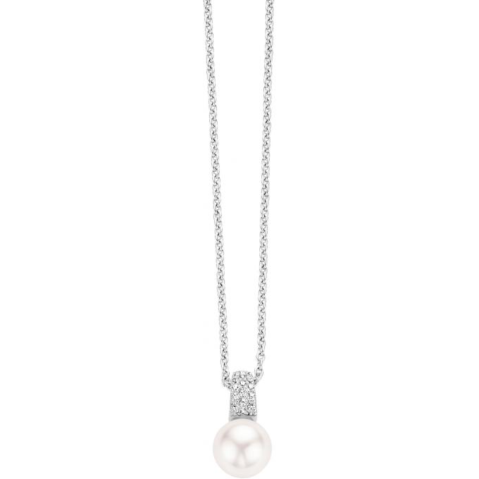 collier femme perle blanche