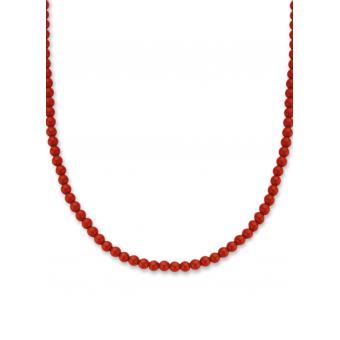 collier argent pierre rouge