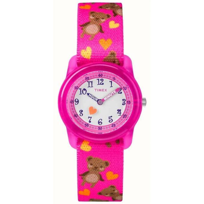 Montre D'infos Blanc Rose Cadran Timex Kids Boîtier Bracelet Ajustable Plus Tw7c166004e Fille Elastique 4AL5Rj3