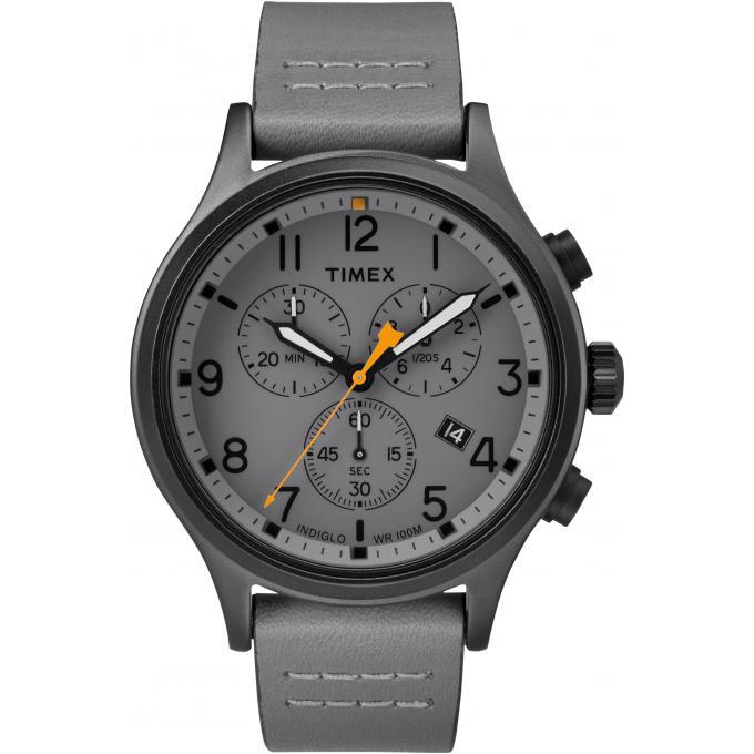 montre timex tw2r47400d7 montre chronographe cuir gris. Black Bedroom Furniture Sets. Home Design Ideas