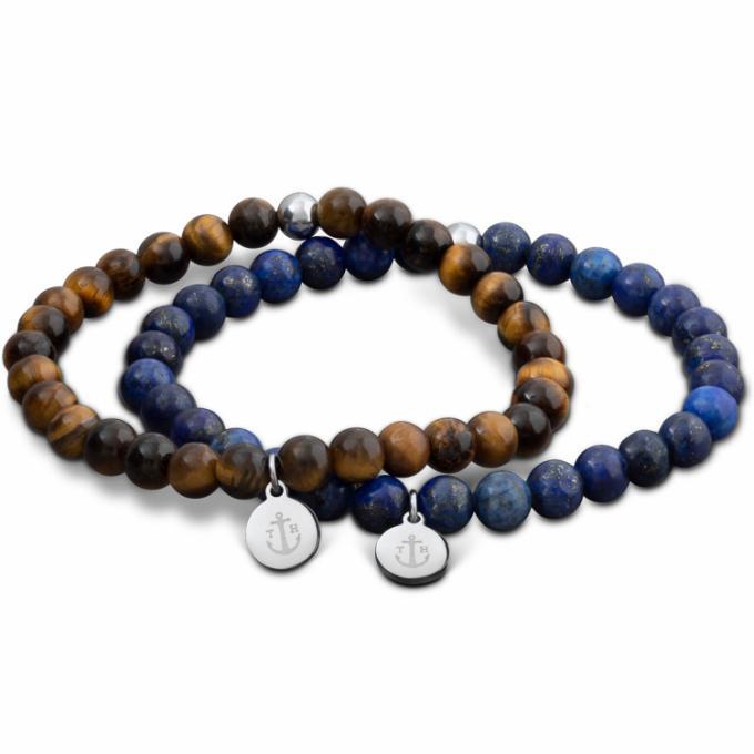 Bracelet Tom Hope TM0505 , 2 Bracelets Laguna Perles Marron et Bleu Homme  Plus d\u0027infos