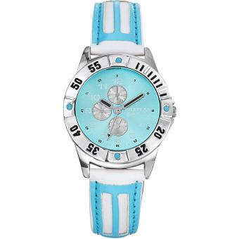 Montre Trendy Junior KL162 - Montre Ronde Cuir Bleu Enfant
