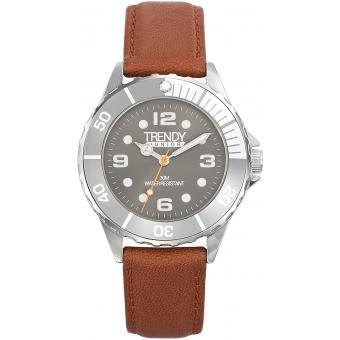 Montre Trendy Junior KL342 - Montre Ronde Cuir Marron Enfant
