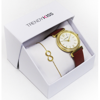 Trendy Kiss - Coffret Montre Trendy Kiss CTK-27 - Montre Rouge Femme