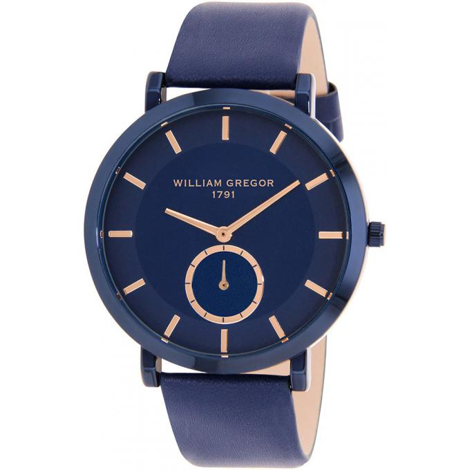Montre William Gregor 1791 BWG10041G-512 - Montre Dateur Cuir Bleu Homme