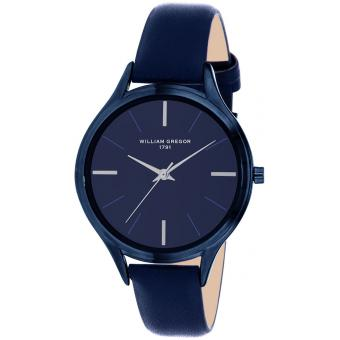 Montre William Gregor 1791 BWG30032G-508 - Montre Dateur Cuir Bleu Homme