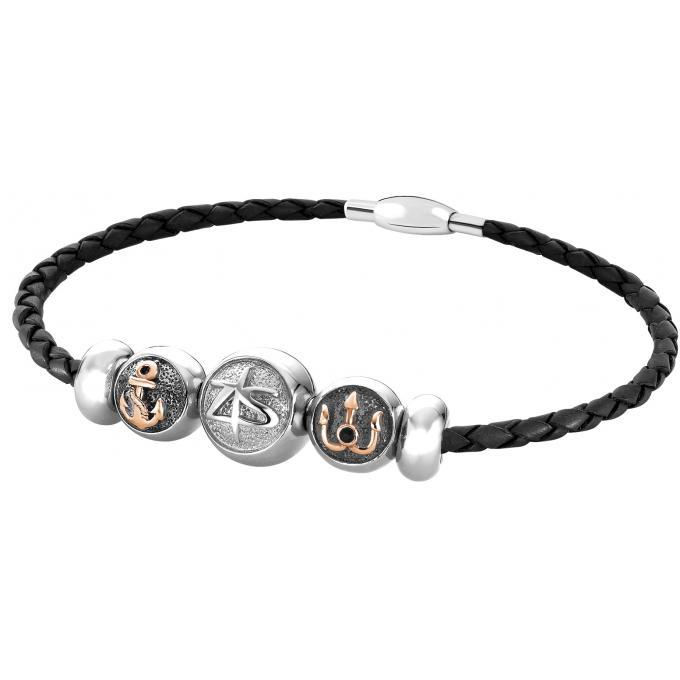 Bracelet zeades goutte neptune noir acier inoxydable cuir italien - Fabriquer goutte a goutte ...