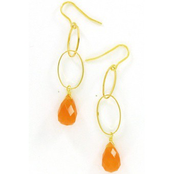 Boucles d'oreille goutte orange - Perle de Lune