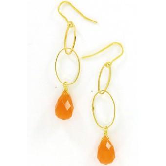 Boucles d'oreille goutte orange - Perle de Lune